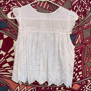 White lace baby doll crop